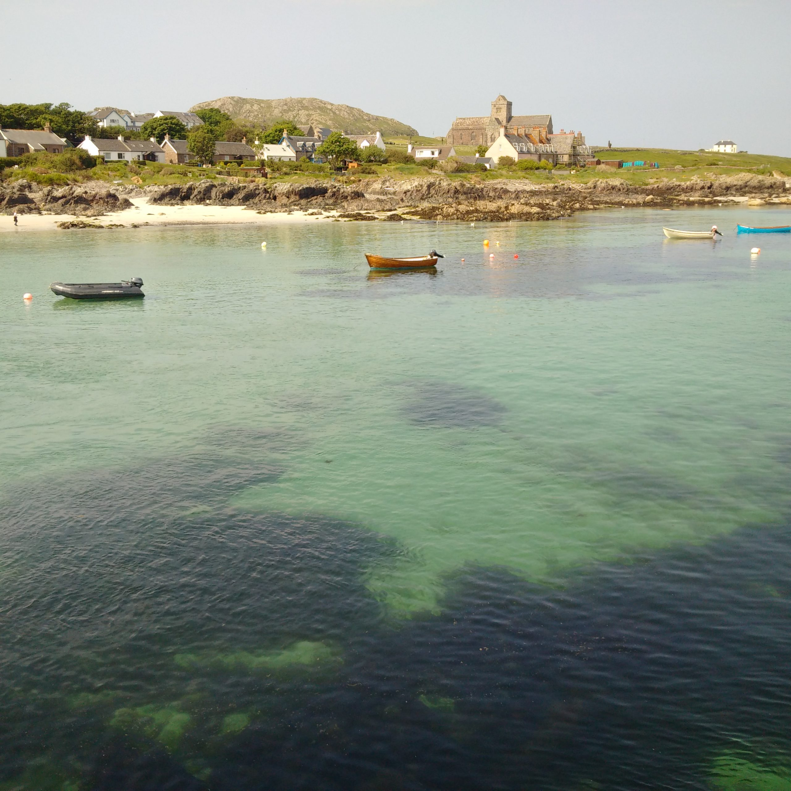 Iona Abbey beyond the turquoise sea