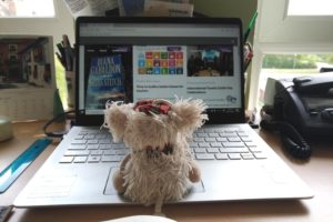 Hamish, the sheep, working from home